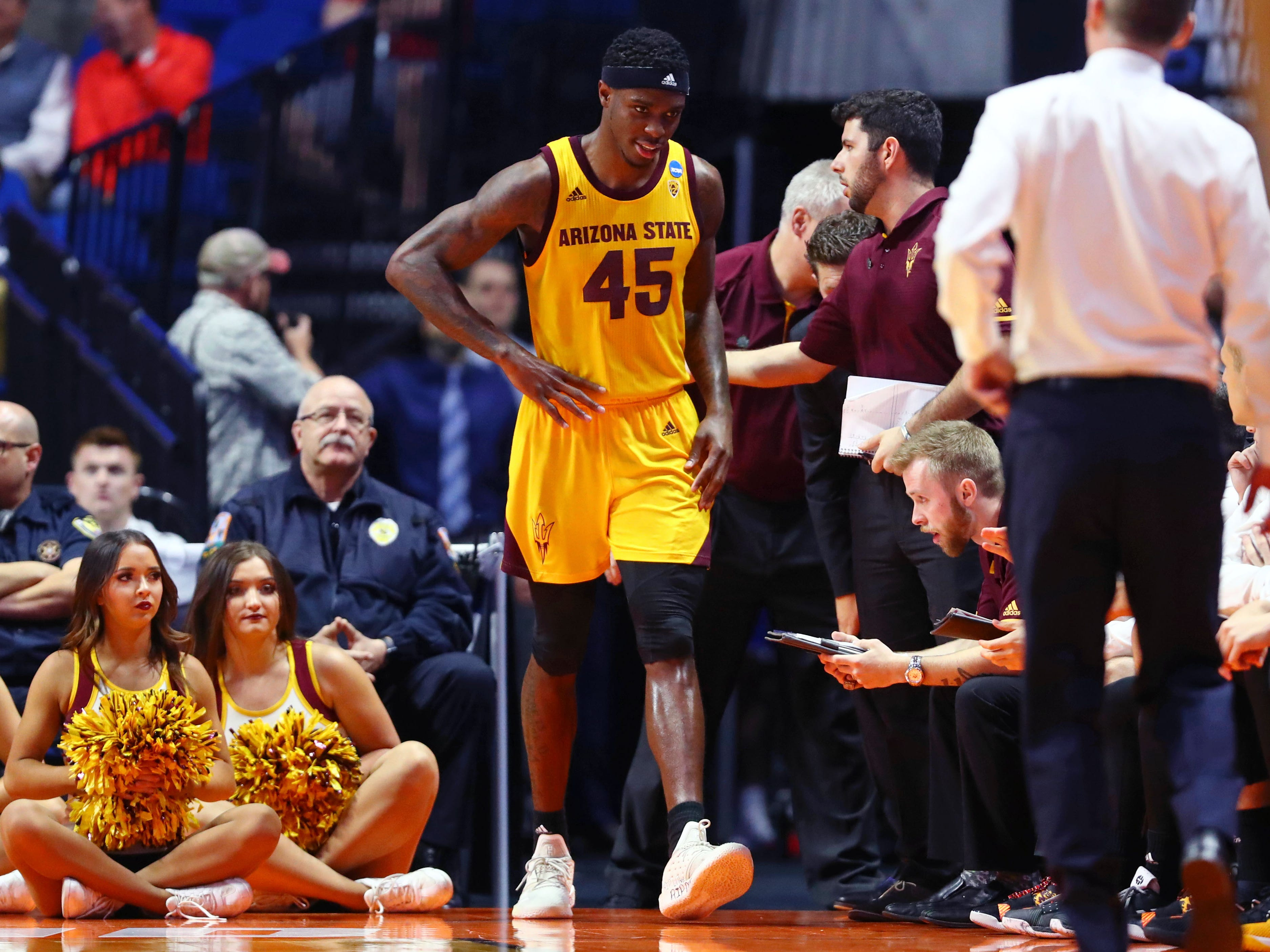Mar 22, 2019; Tulsa, OK, USA; Arizona State Sun Devils forward Zylan Cheatham (45) walks along the bench in the final minutes of the game in their loss to Buffalo Bulls in the first round of the 2019 NCAA Tournament at BOK Center. The Buffalo Bulls won 91-74. Mandatory Credit: Mark J. Rebilas-USA TODAY Sports