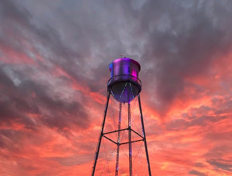 Beautiful sunset at the Gilbert water tower.