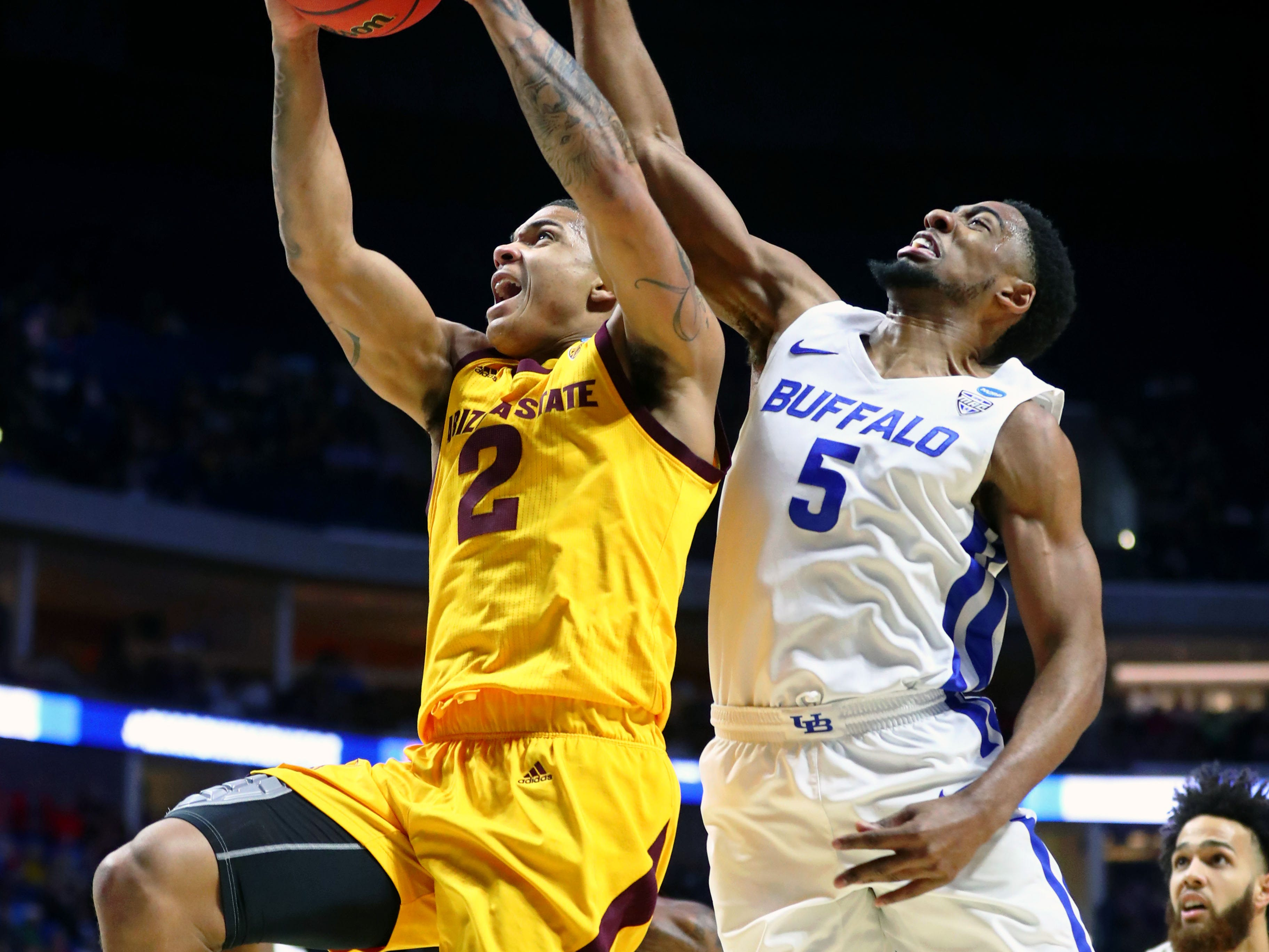 Mar 22, 2019; Tulsa, OK, USA; Arizona State Sun Devils guard Rob Edwards (2) shoots the ball as Buffalo Bulls guard CJ Massinburg (5) defends during the first half in the first round of the 2019 NCAA Tournament at BOK Center. Mandatory Credit: Mark J. Rebilas-USA TODAY Sports