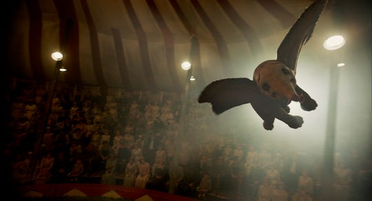 "In Disney's new live-action adventure ""Dumbo,"" a newborn elephant with giant ears discovers he can fly, and he's destined to be a star, which may or may not be a good thing. Directed by Tim Burton, ""Dumbo"" flies into theaters on March 29, 2019."
