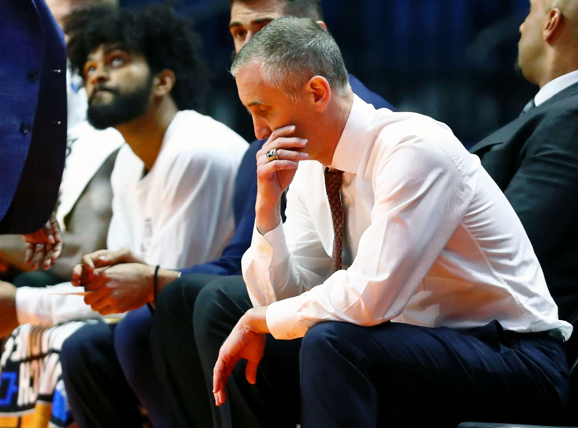 Mar 22, 2019; Tulsa, OK, USA; Arizona State Sun Devils head coach Bobby Hurley reacts on the bench in the final minutes of their loss to Buffalo Bulls in the first round of the 2019 NCAA Tournament at BOK Center. The Buffalo Bulls won 91-74. Mandatory Credit: Mark J. Rebilas-USA TODAY Sports