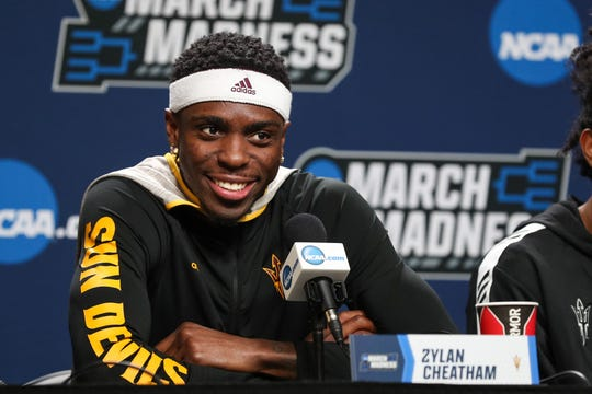 Mar 21, 2019; Tulsa, OK, USA; Arizona State Sun Devils forward Zylan Cheatham answers questions during a press conference before the first round of the 2019 NCAA Tournament at  BOK Center. Mandatory Credit: Brett Rojo-USA TODAY Sports