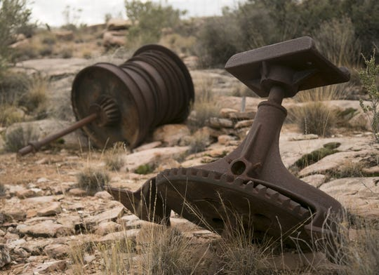 Rusted equipment lays abandoned at the site of the Copper Mountain Mine in the Parashant National Monument. The site had once been used in the mining of copper and uranium and is now feared by some to be contaminating the nearby Grand Canyon.
