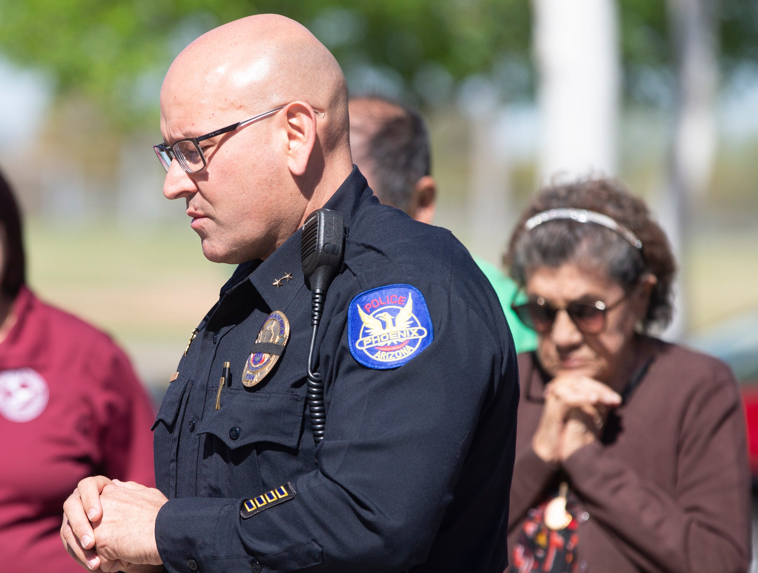 Maryvale Estrella Mountain Precinct Cmdr. Edward DeCastro speaks March 22, 2019, during a prayer services for Officer Paul Rutherford, who was killed in a crash March 21.