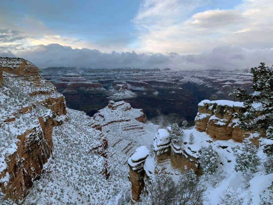 A view of the Grand Canyon in 2019's winter season.