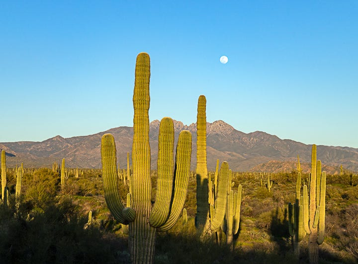A prelude to the supermoon at Four Peaks in Arizona.