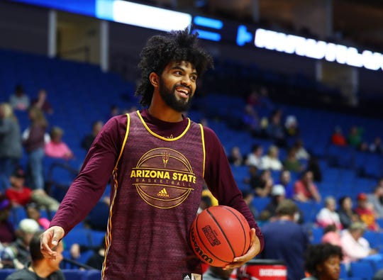 Mar 21, 2019; Tulsa, OK, USA; Arizona State Sun Devils guard Remy Martin during practice before the first round of the 2019 NCAA Tournament at BOK Center. Mandatory Credit: Mark J. Rebilas-USA TODAY Sports