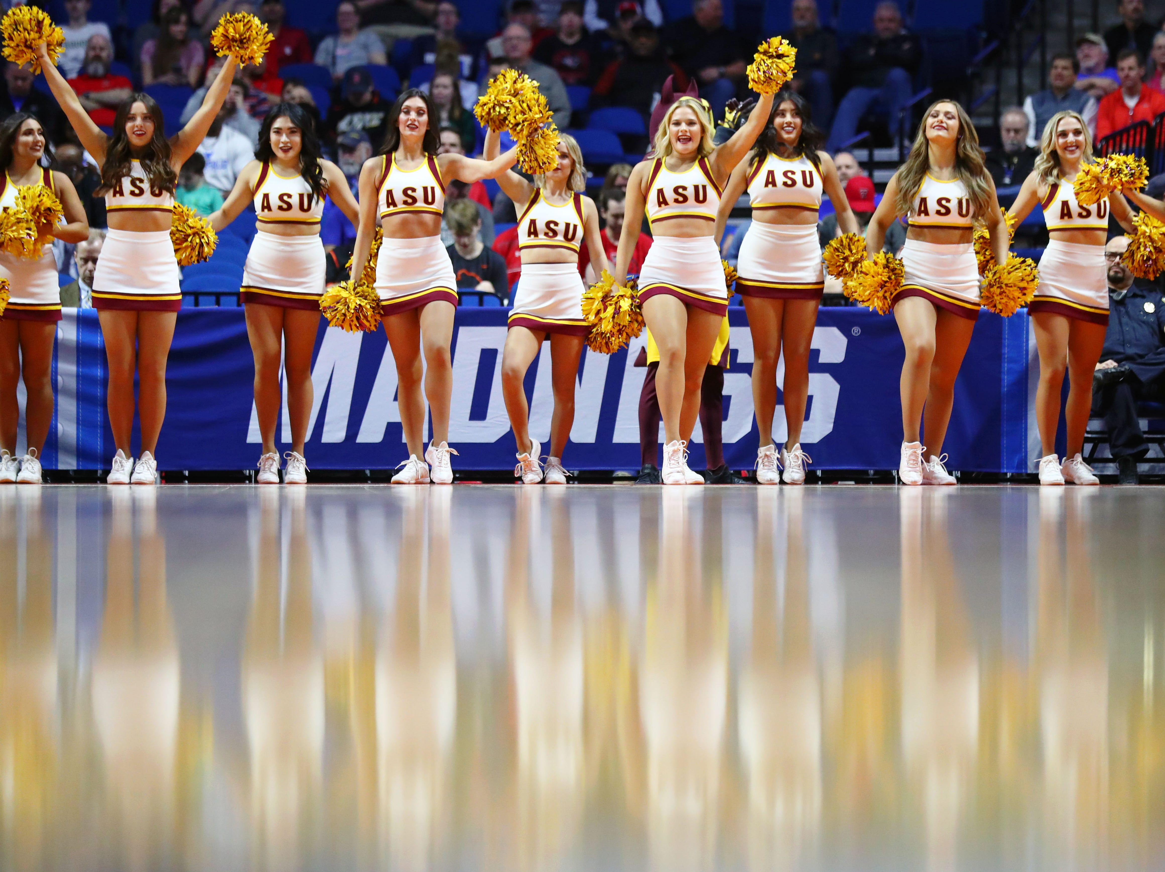 Mar 22, 2019; Tulsa, OK, USA; The Arizona State Sun Devils cheerleaders perform before the start of their game against the Buffalo Bulls in the first round of the 2019 NCAA Tournament at BOK Center. Mandatory Credit: Mark J. Rebilas-USA TODAY Sports