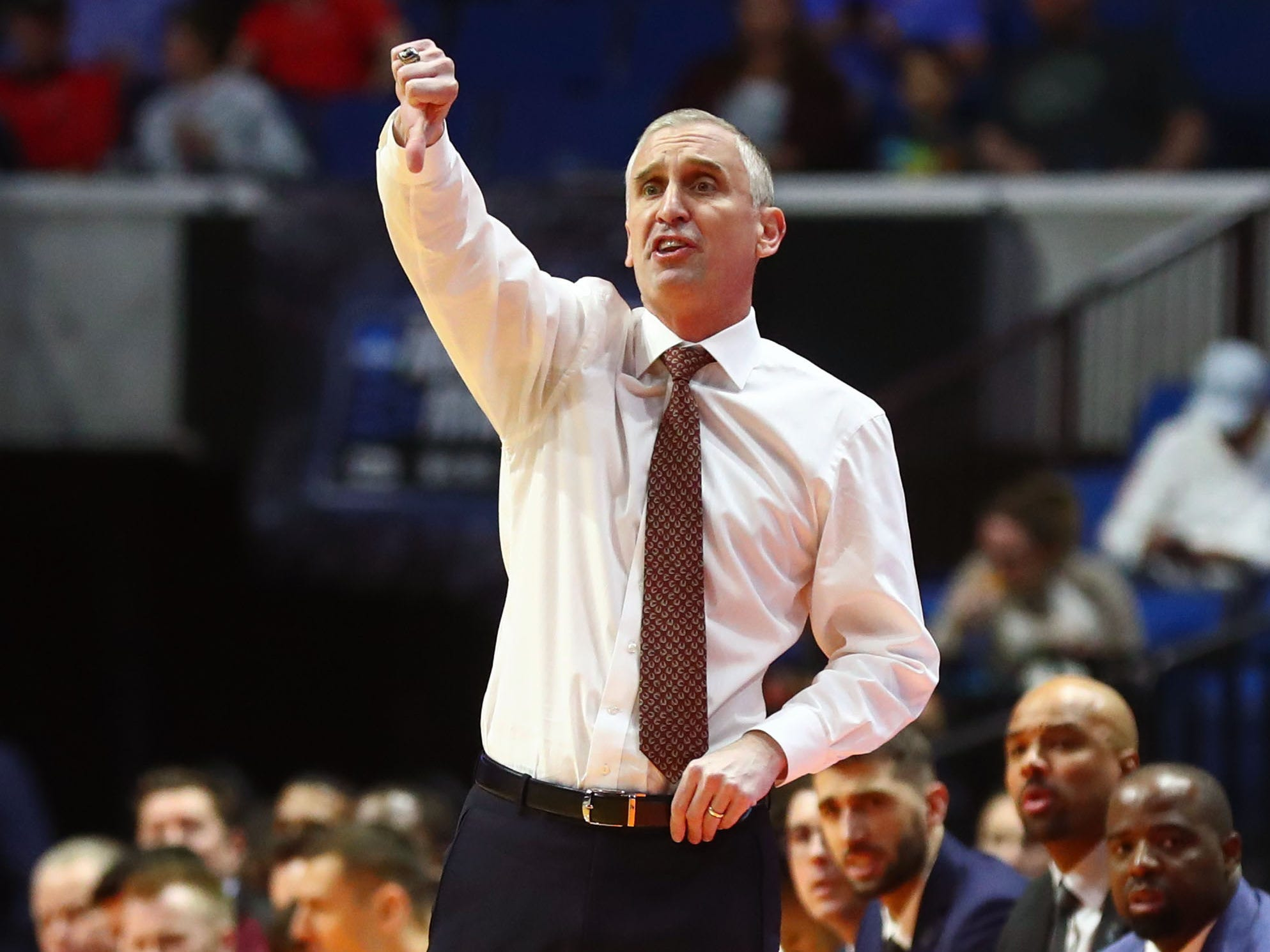 Mar 22, 2019; Tulsa, OK, USA; Arizona State Sun Devils head coach Bobby Hurley instructs his team during the first half of their game against the Buffalo Bulls in the first round of the 2019 NCAA Tournament at BOK Center. Mandatory Credit: Mark J. Rebilas-USA TODAY Sports
