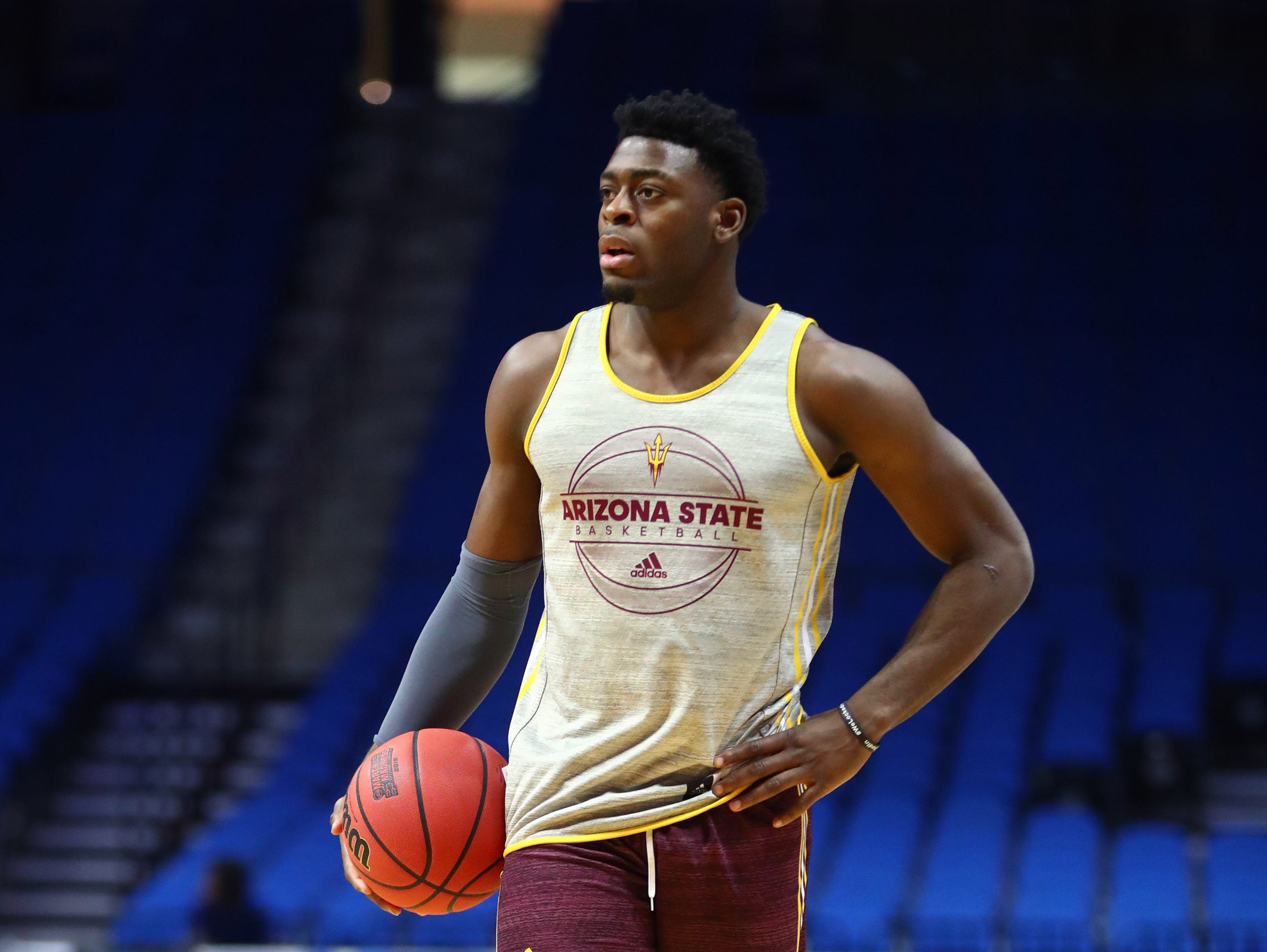 Mar 21, 2019; Tulsa, OK, USA; Arizona State Sun Devils guard Luguentz Dort during practice before the first round of the 2019 NCAA Tournament at BOK Center. Mandatory Credit: Mark J. Rebilas-USA TODAY Sports