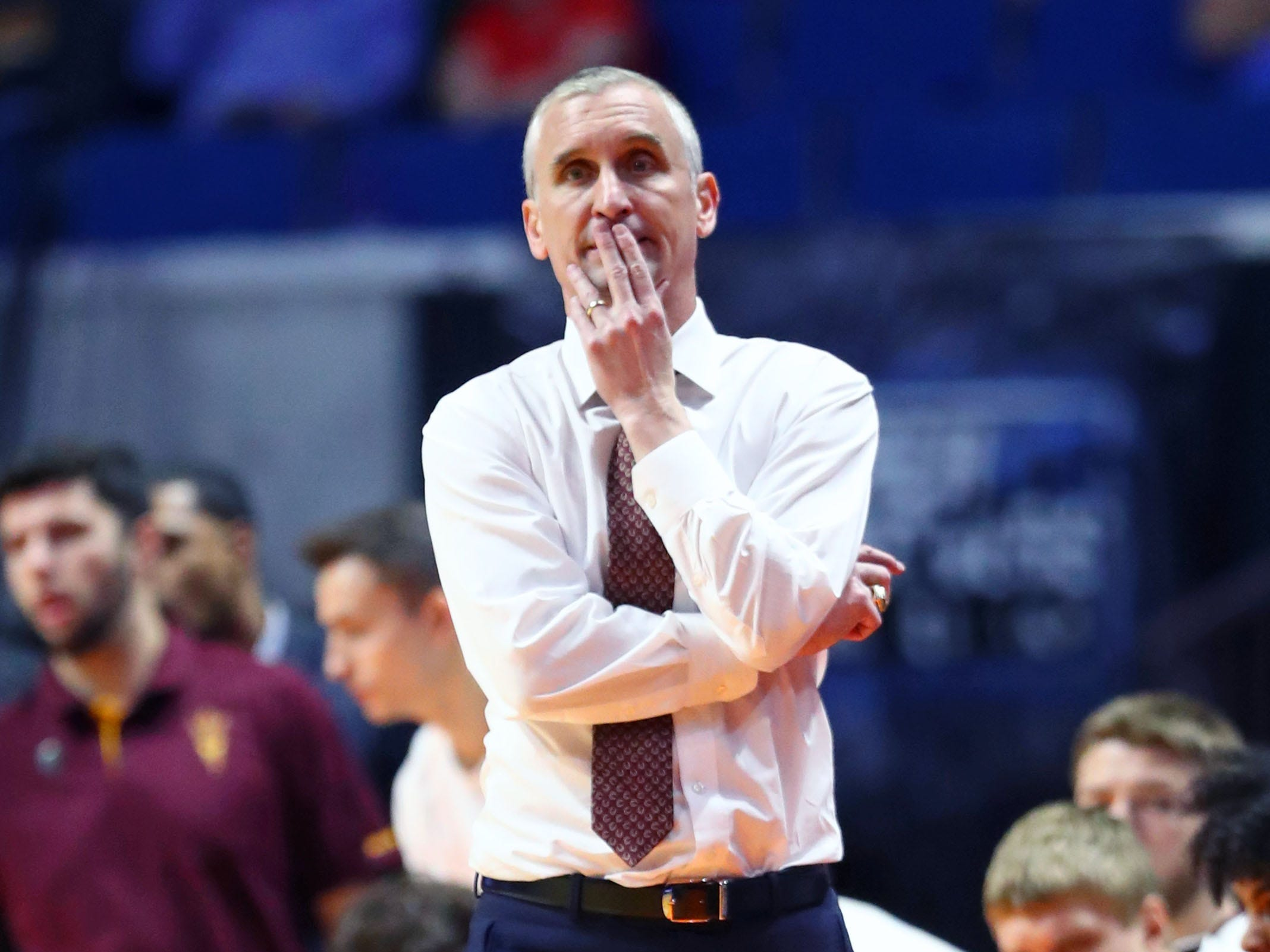 Mar 22, 2019; Tulsa, OK, USA; Arizona State Sun Devils head coach Bobby Hurley reacts to a play during the second half of their game against the Buffalo Bulls in the first round of the 2019 NCAA Tournament at BOK Center. Mandatory Credit: Mark J. Rebilas-USA TODAY Sports