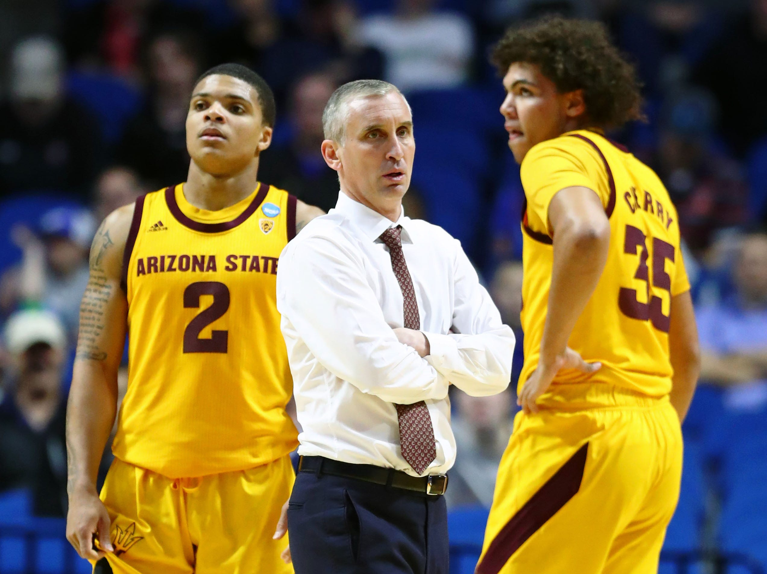 Mar 22, 2019; Tulsa, OK, USA; Arizona State Sun Devils head coach Bobby Hurley talks with forward Taeshon Cherry (35) during a time out in the second half of their game against the Buffalo Bulls in the first round of the 2019 NCAA Tournament at BOK Center. The Buffalo Bulls won 91-74. Mandatory Credit: Mark J. Rebilas-USA TODAY Sports
