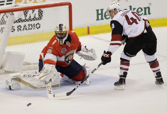 Florida Panthers goaltender Roberto Luongo (1) defends against Arizona Coyotes right wing Michael Grabner (40) during the second period of an NHL hockey game on Thursday, March 21, 2019, in Sunrise, Fla.