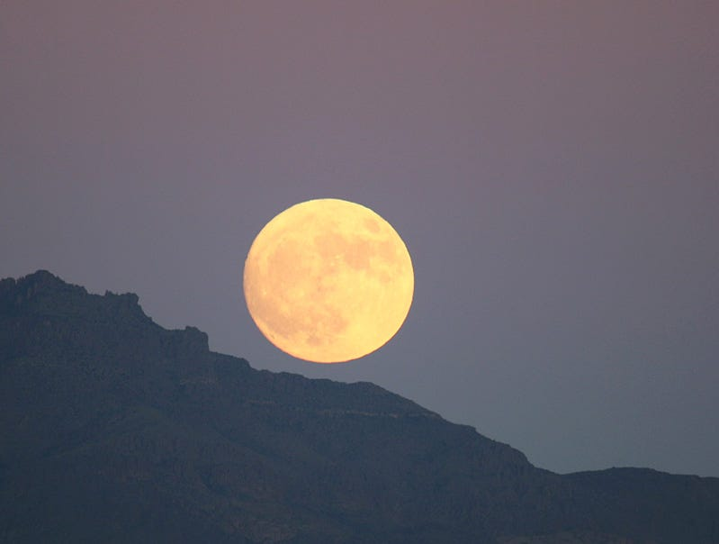 Super Moon rising over the Superstitions.
