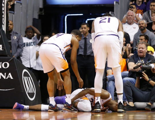 Suns forward Josh Jackson (20) suffered a right ankle sprain while attempting to block a shot from Pistons forward Thon Maker.