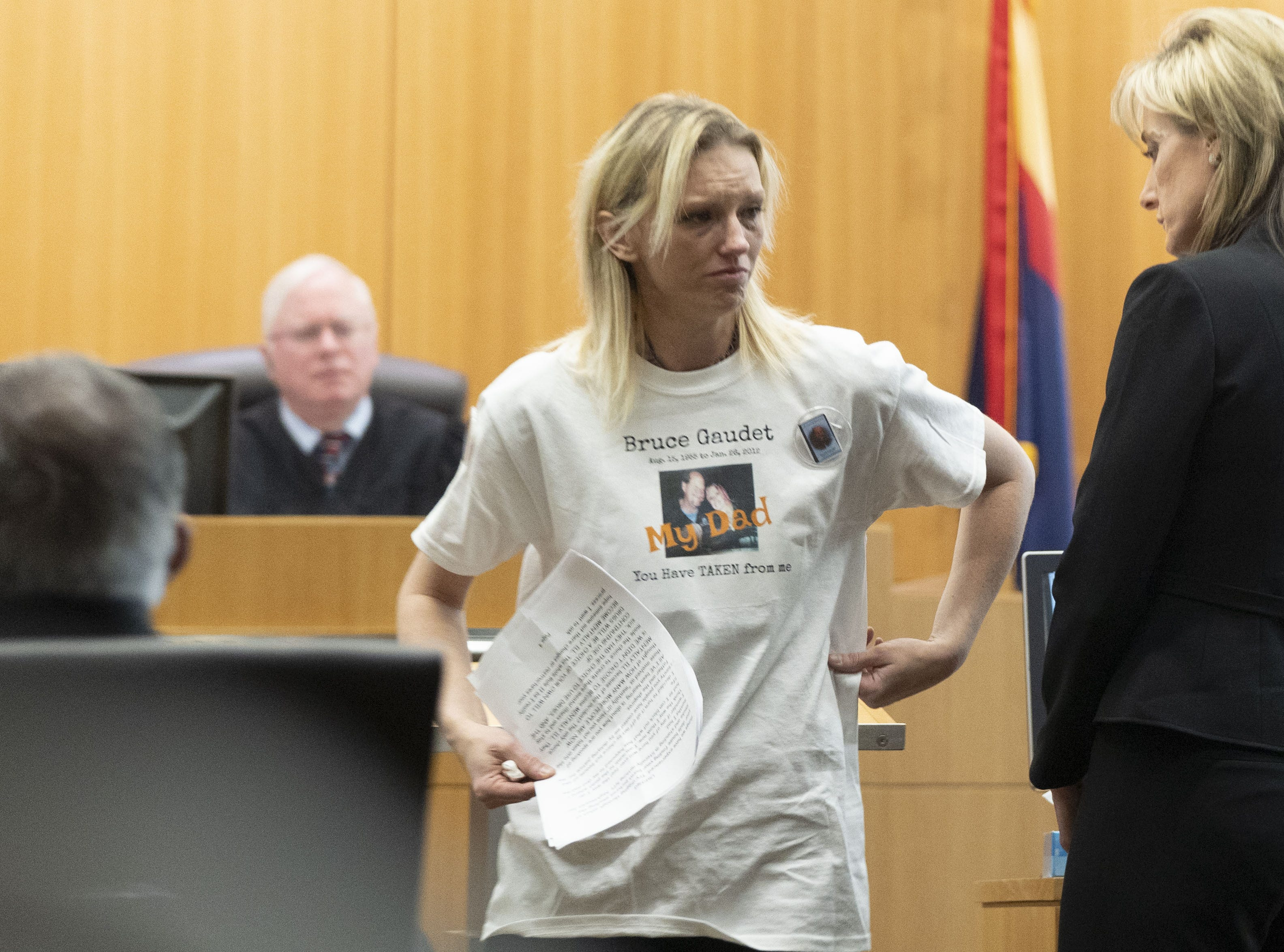 Jessica Gaudet, 34, daughter of Bruce Gaudet, speaks to Judge Warren Granville about how hard it is for them to lose their dad.