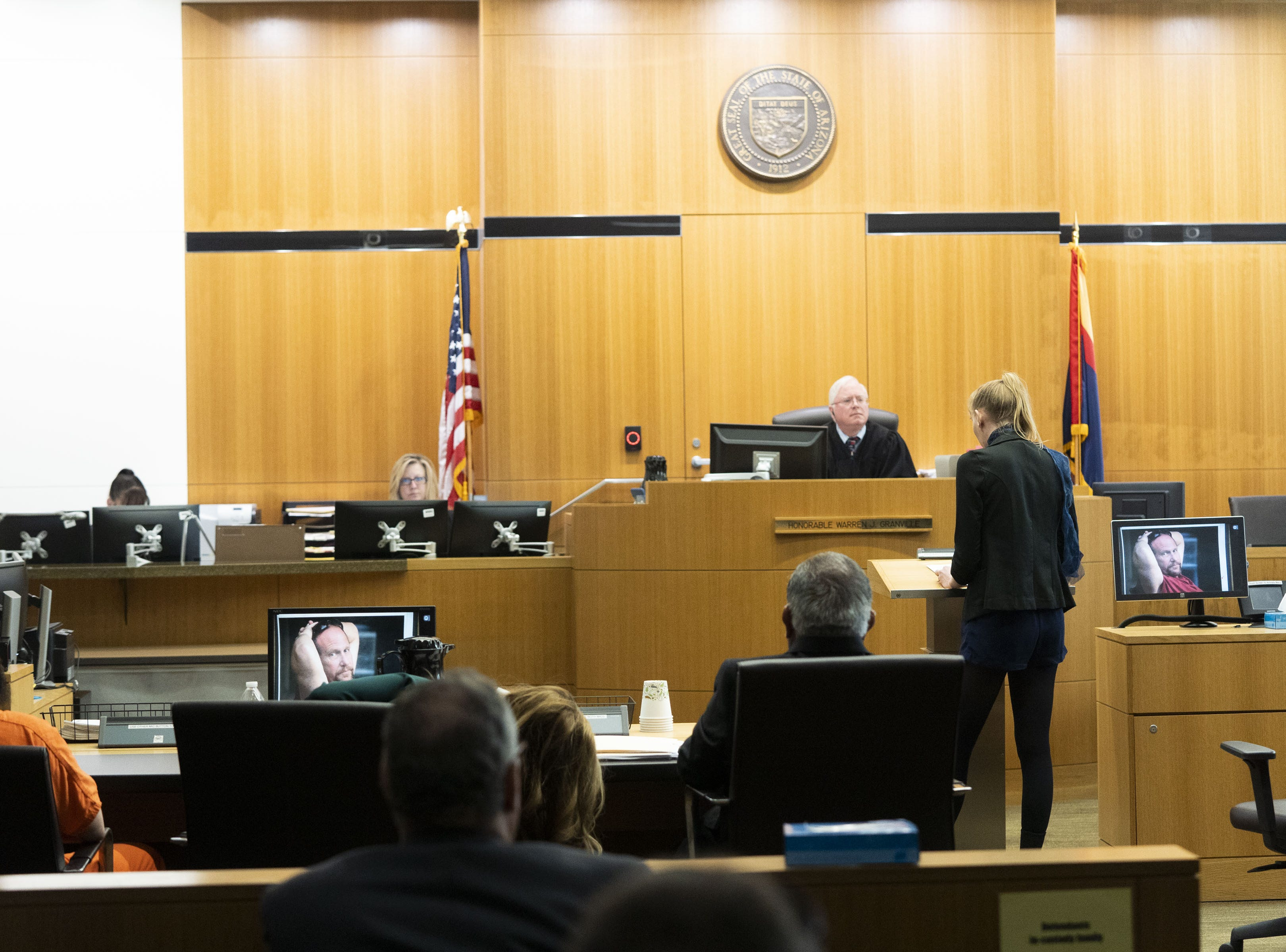 Melissa Gaudet, 26, daughter of Bruce Gaudet, speaks to Judge Warren Granville about how hard it is for them losing their dad. Judge Warren Granville sentenced Michael Crane to life without parole for the first-degree murder of Bruce Gaudet, Glenna and Lawrence Shapiro, kidnapping, burglary, arson, and other charges at Maricopa County Superior Court on March 22, 2019.