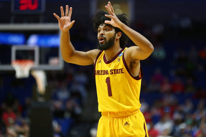 Mar 22, 2019; Tulsa, OK, USA; Arizona State Sun Devils guard Remy Martin (1) reacts after a play during the first half of their game against the Buffalo Bulls in the first round of the 2019 NCAA Tournament at BOK Center. Mandatory Credit: Mark J. Rebilas-USA TODAY Sports