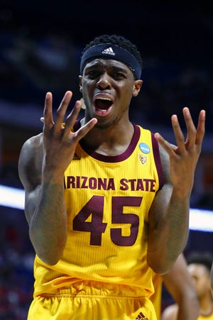 Mar 22, 2019; Tulsa, OK, USA; Arizona State Sun Devils forward Zylan Cheatham (45) reacts to a play during the first half of their game against the Buffalo Bulls in the first round of the 2019 NCAA Tournament at BOK Center. Mandatory Credit: Mark J. Rebilas-USA TODAY Sports