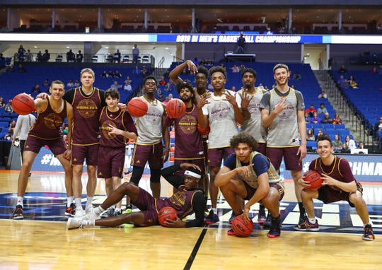 Arizona State Sun Devils players pose for a team photo during practice before the first round of the 2019 NCAA Tournament at BOK Center.