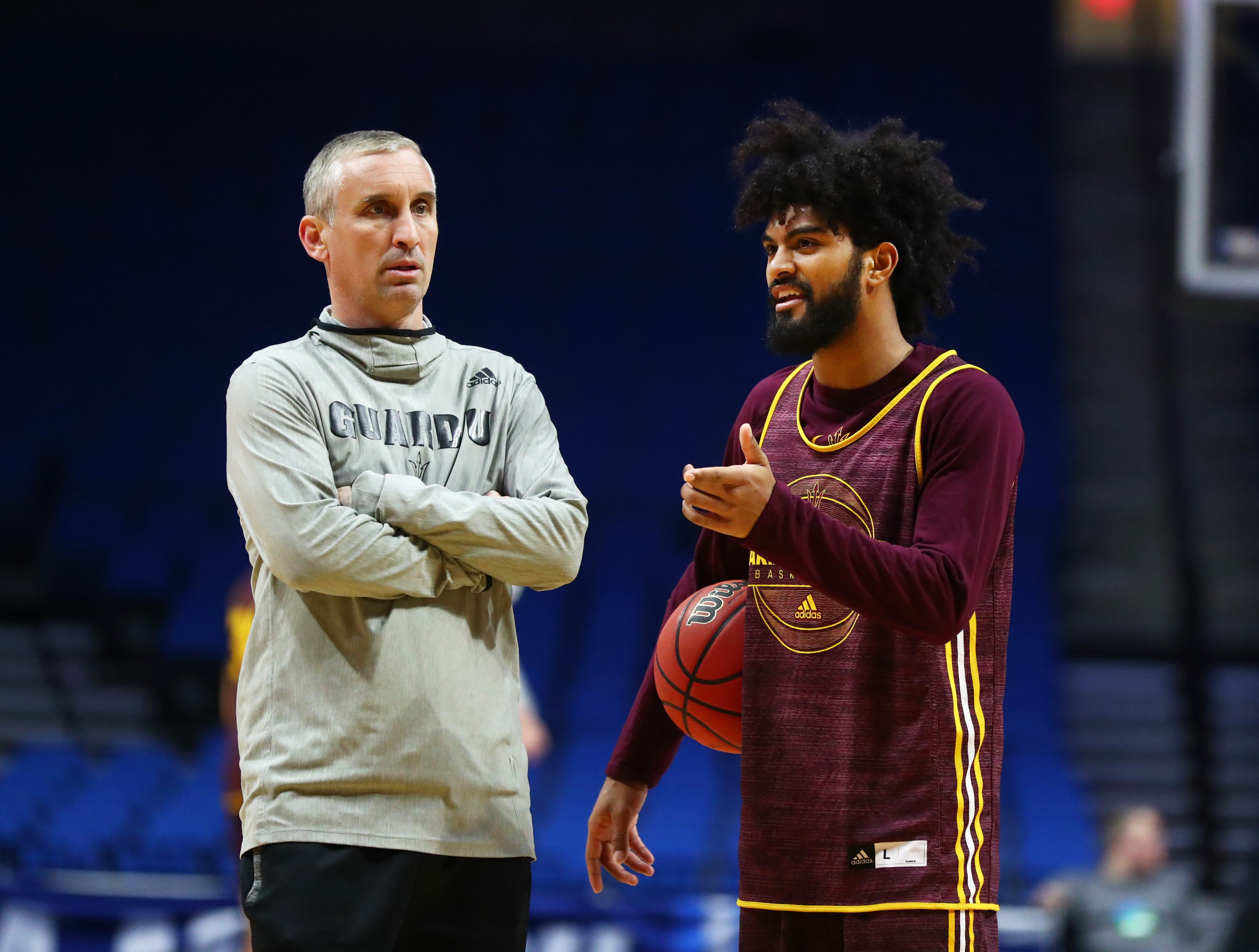 Mar 21, 2019; Tulsa, OK, USA; Arizona State Sun Devils head coach Bobby Hurley (left) with guard Remy Martin during practice before the first round of the 2019 NCAA Tournament at BOK Center. Mandatory Credit: Mark J. Rebilas-USA TODAY Sports