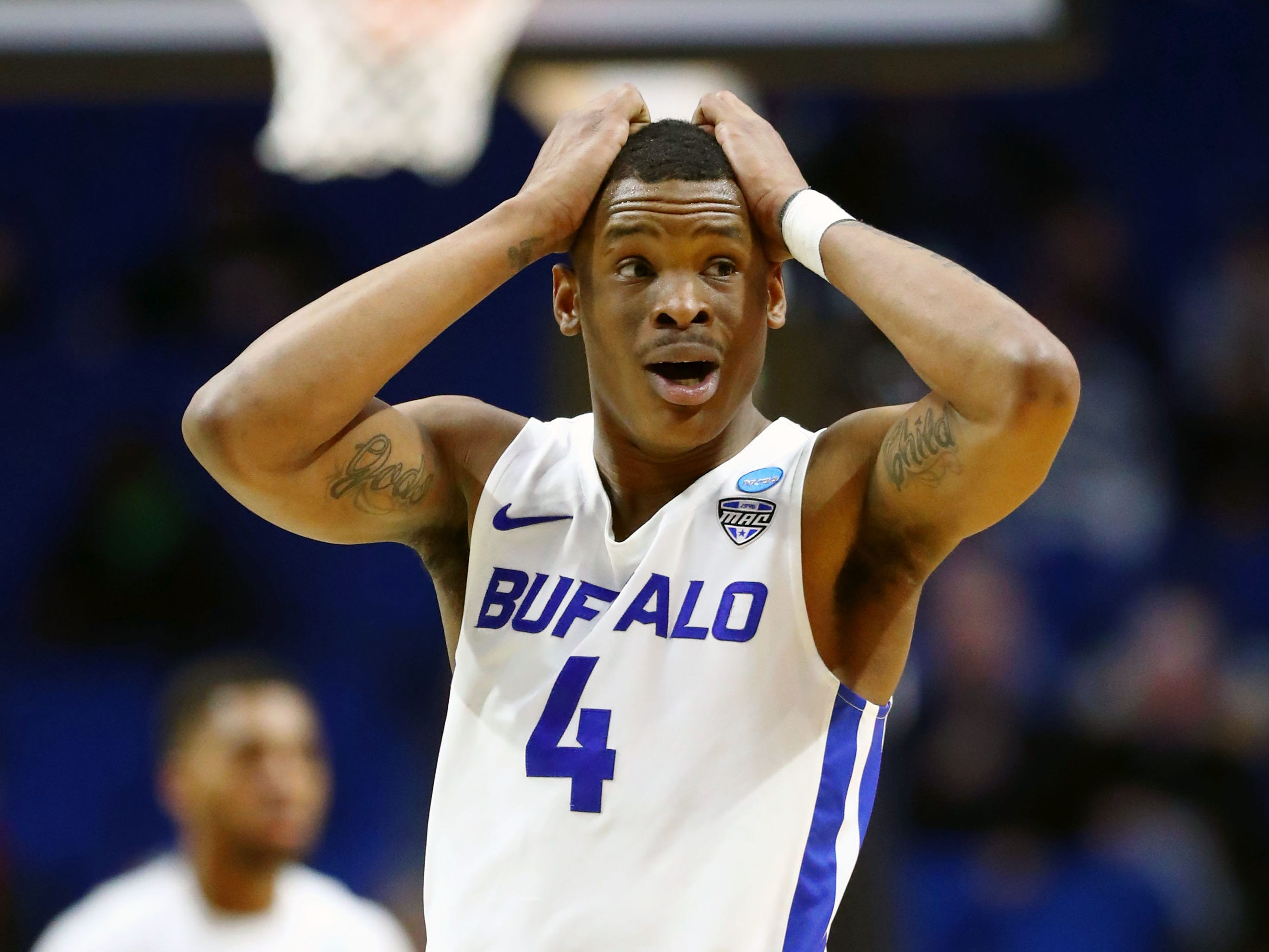 Mar 22, 2019; Tulsa, OK, USA; Buffalo Bulls guard Davonta Jordan (4) reacts after a play against the Arizona State Sun Devils during the second half in the first round of the 2019 NCAA Tournament at BOK Center. Mandatory Credit: Mark J. Rebilas-USA TODAY Sports