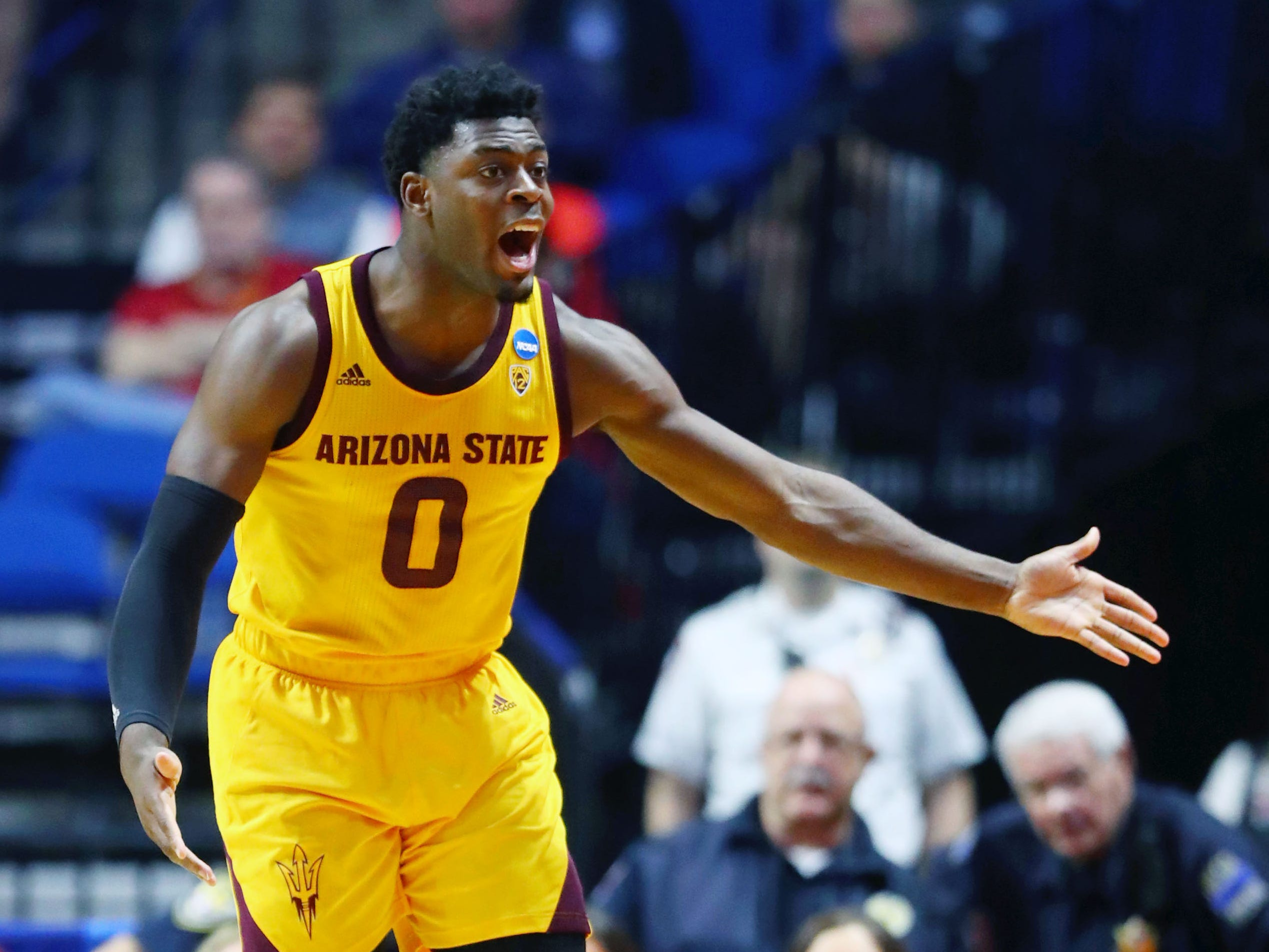 Mar 22, 2019; Tulsa, OK, USA; Arizona State Sun Devils guard Luguentz Dort (0) reacts after a call during the second half of their game against the Buffalo Bulls in the first round of the 2019 NCAA Tournament at BOK Center. Mandatory Credit: Mark J. Rebilas-USA TODAY Sports