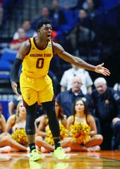 ASU guard Luguentz Dort reacts after getting called for a foul.