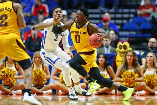 Arizona State guard Luguentz Dort works against Buffalo guard Jayvon Grades during an NCAA Tournament game on March 22.