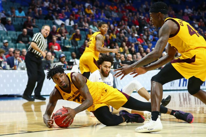 Mar 22, 2019; Tulsa, OK, USA; Arizona State Sun Devils forward Romello White (23) falls on a loose ball during the second half of their game against the Buffalo Bulls in the first round of the 2019 NCAA Tournament at BOK Center. Mandatory Credit: Mark J. Rebilas-USA TODAY Sports