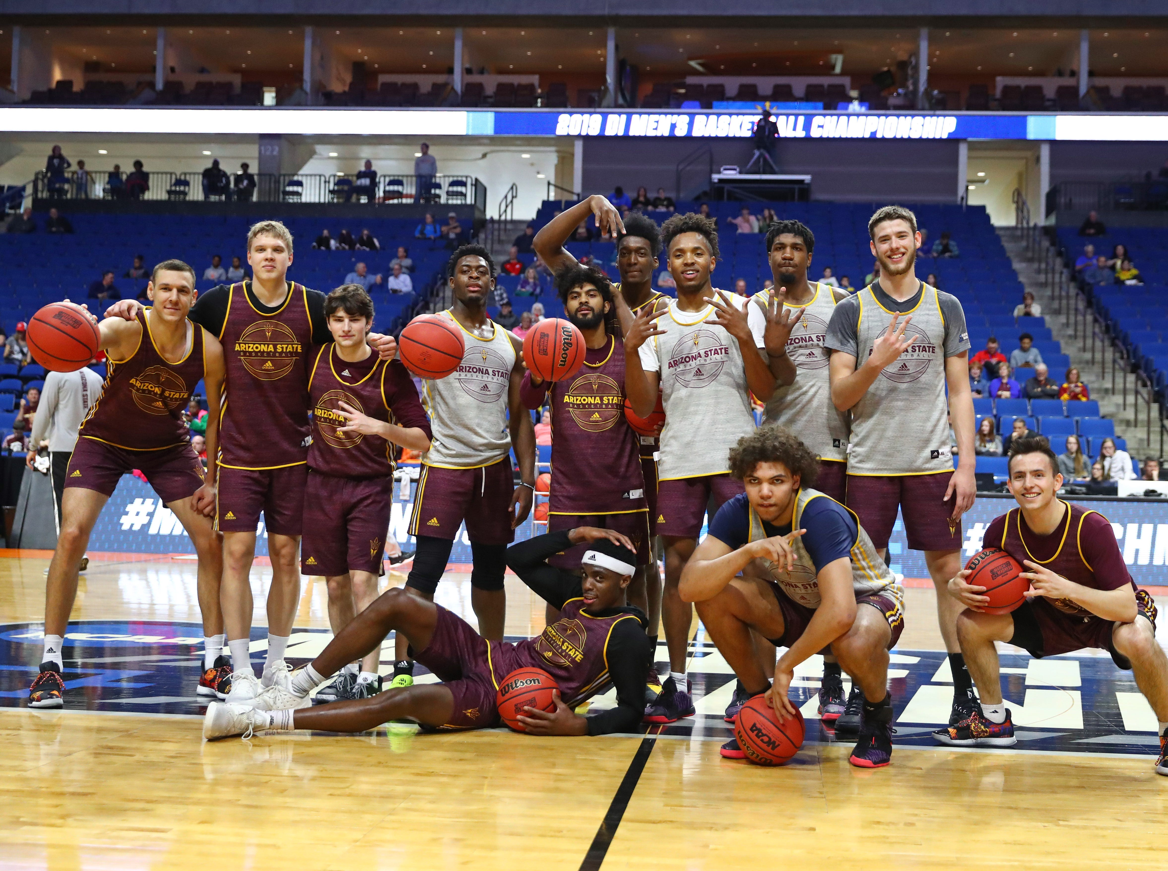Mar 21, 2019; Tulsa, OK, USA; Arizona State Sun Devils players pose for a team photo during practice before the first round of the 2019 NCAA Tournament at BOK Center. Mandatory Credit: Mark J. Rebilas-USA TODAY Sports