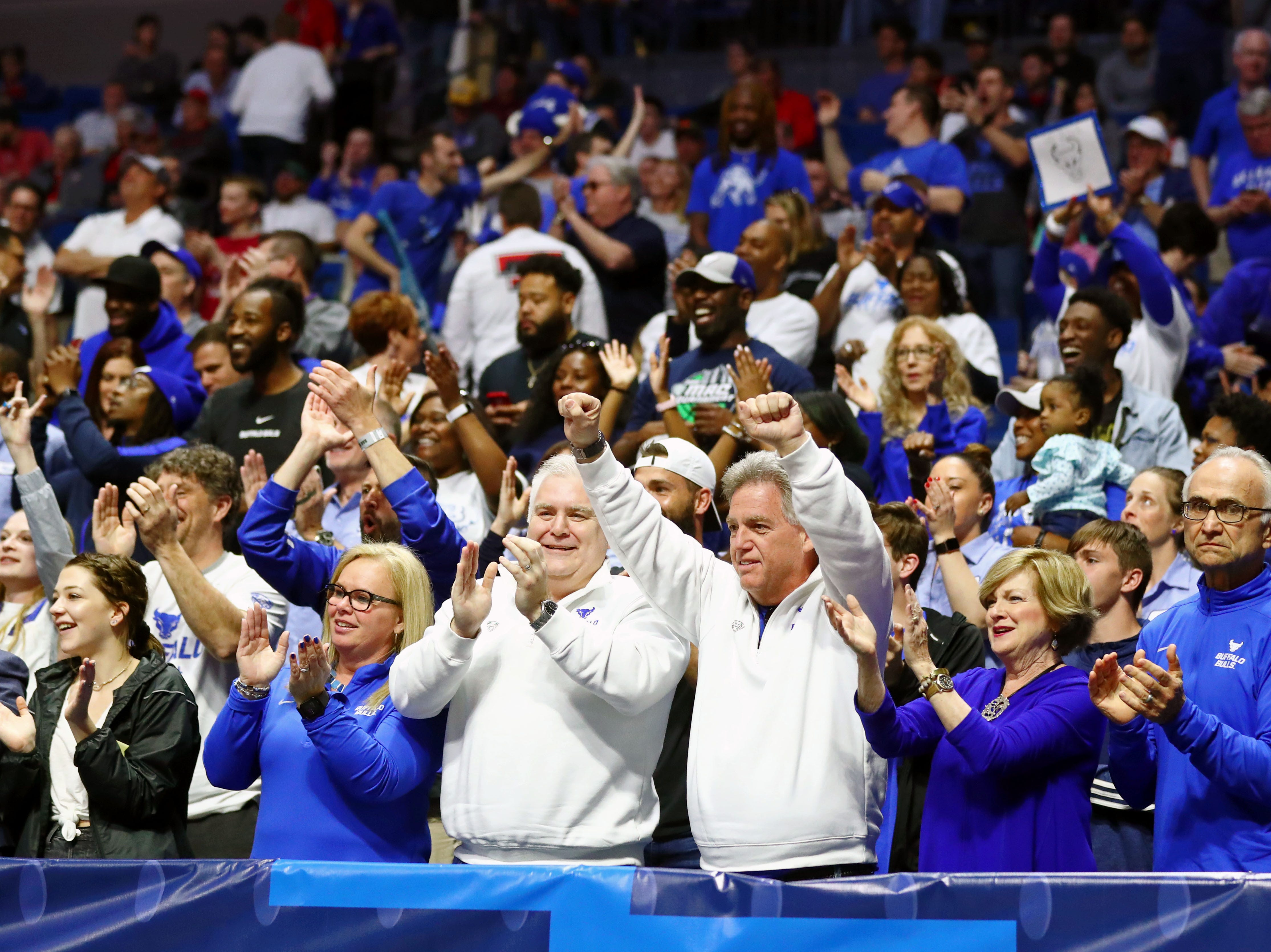 Mar 22, 2019; Tulsa, OK, USA; Buffalo Bulls fans celebrate after a play against the Arizona State Sun Devils during the first half in the first round of the 2019 NCAA Tournament at BOK Center. Mandatory Credit: Mark J. Rebilas-USA TODAY Sports