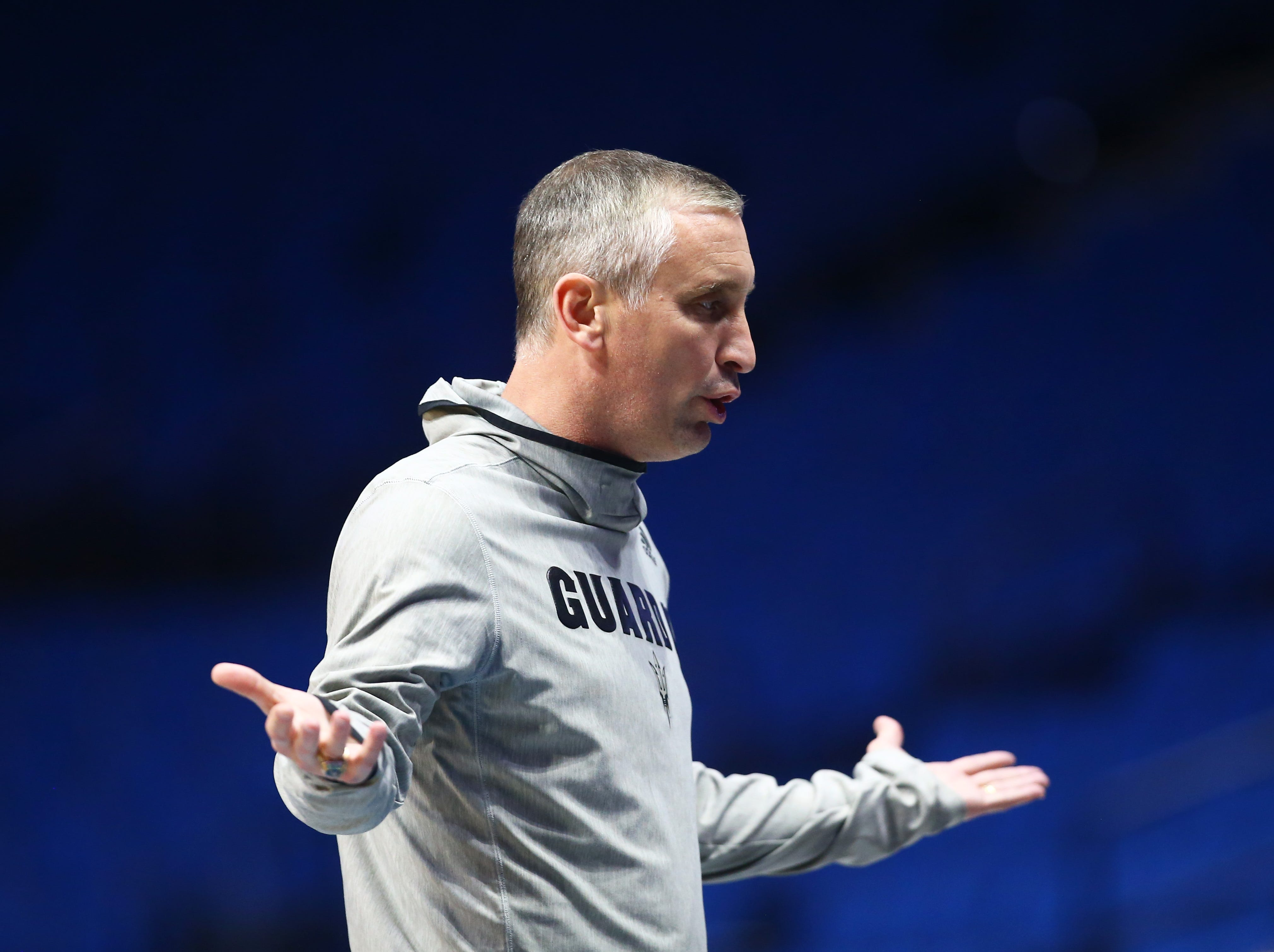 Mar 21, 2019; Tulsa, OK, USA; Arizona State Sun Devils head coach Bobby Hurley reacts during practice before the first round of the 2019 NCAA Tournament at BOK Center. Mandatory Credit: Mark J. Rebilas-USA TODAY Sports