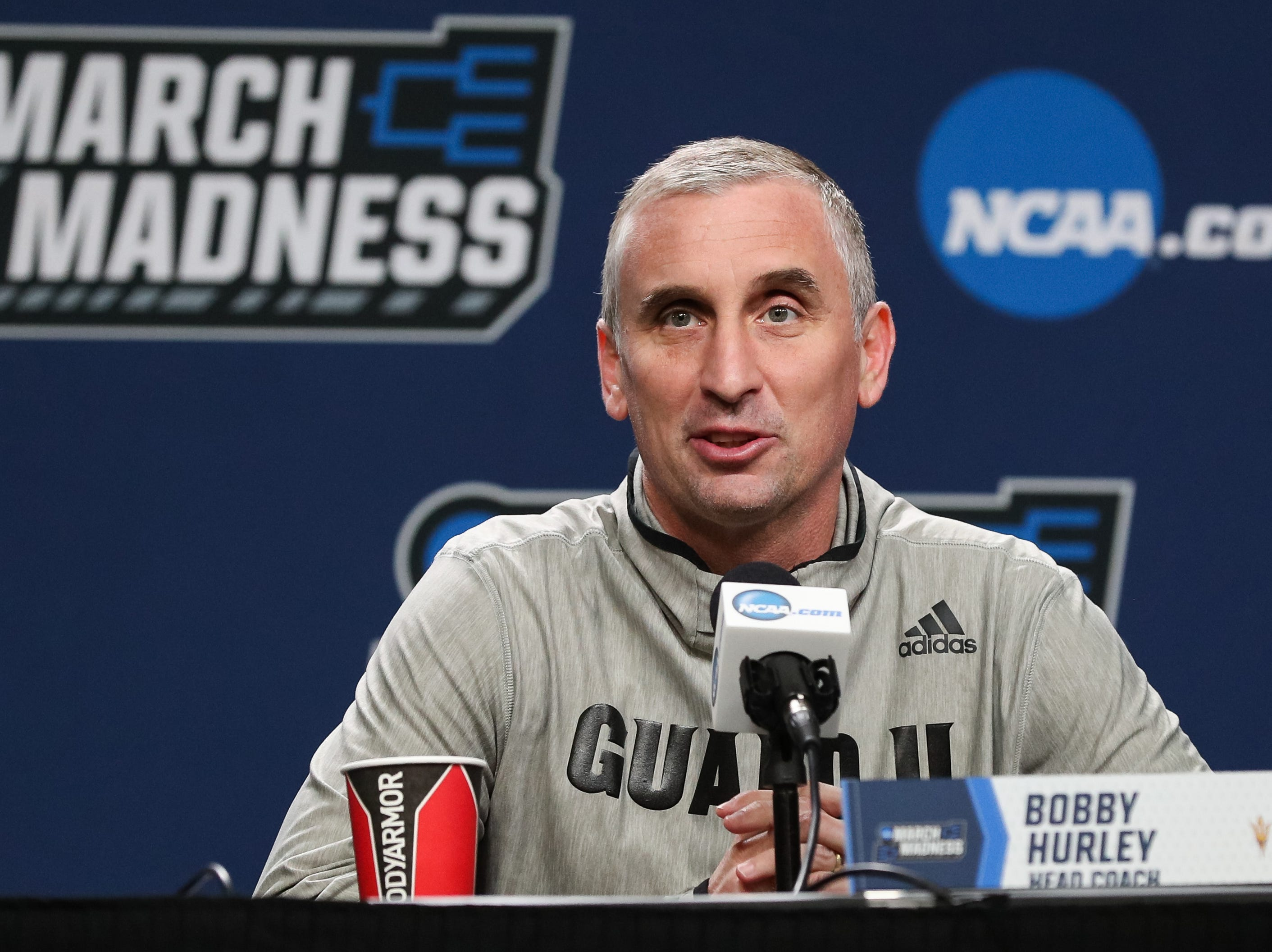 Mar 21, 2019; Tulsa, OK, USA; Arizona State Sun Devils head coach Bobby Hurley answers questions during a press conference before the first round of the 2019 NCAA Tournament at  BOK Center. Mandatory Credit: Brett Rojo-USA TODAY Sports