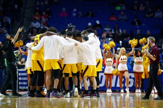 The Sun Devils huddle before the start of their NCAA Tournament game against Buffalo on March 22.