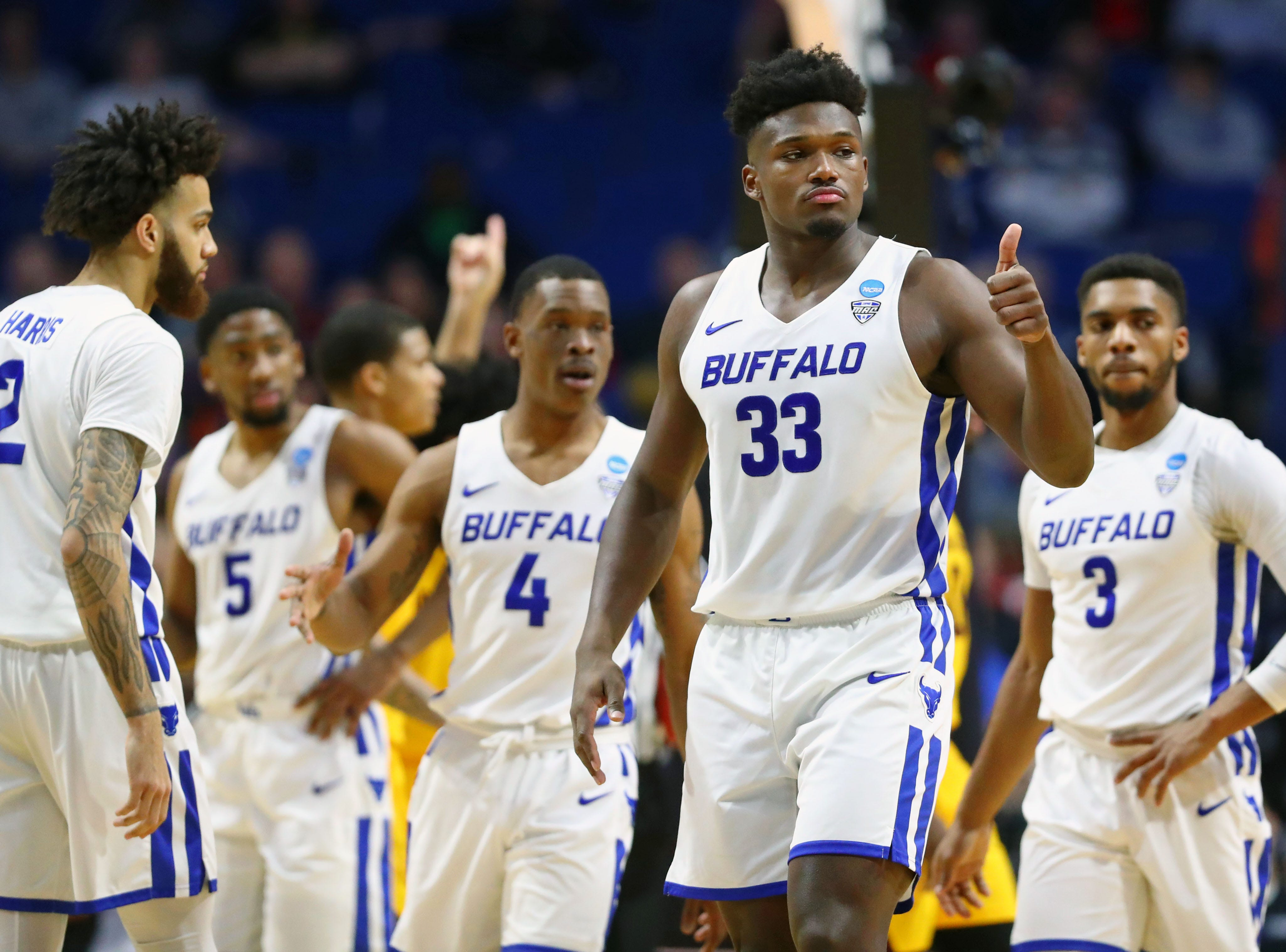 Mar 22, 2019; Tulsa, OK, USA; Buffalo Bulls forward Nick Perkins (33) gives a thumbs up after a play against the Arizona State Sun Devils during the first half in the first round of the 2019 NCAA Tournament at BOK Center. Mandatory Credit: Mark J. Rebilas-USA TODAY Sports