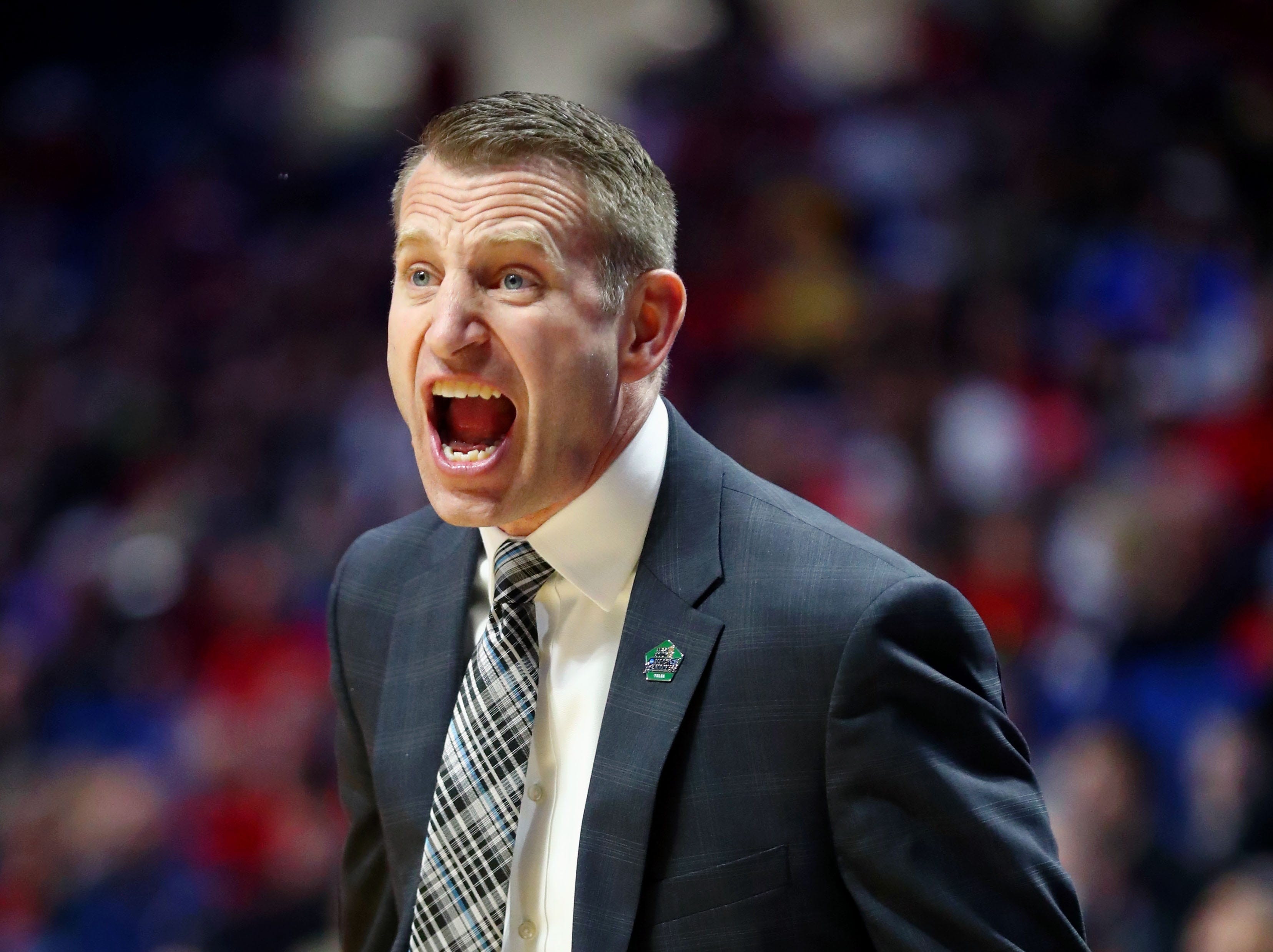 Mar 22, 2019; Tulsa, OK, USA; Buffalo Bulls head coach Nate Oats reacts during the first half of their game against the Arizona State Sun Devils in the first round of the 2019 NCAA Tournament at BOK Center. Mandatory Credit: Mark J. Rebilas-USA TODAY Sports