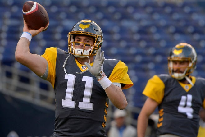 Mar 9, 2019; San Diego, CA, USA; San Diego Fleet quarterback Mike Bercovici (11) warms up before the game against the Salt Lake Stallions at SDCCU Stadium.