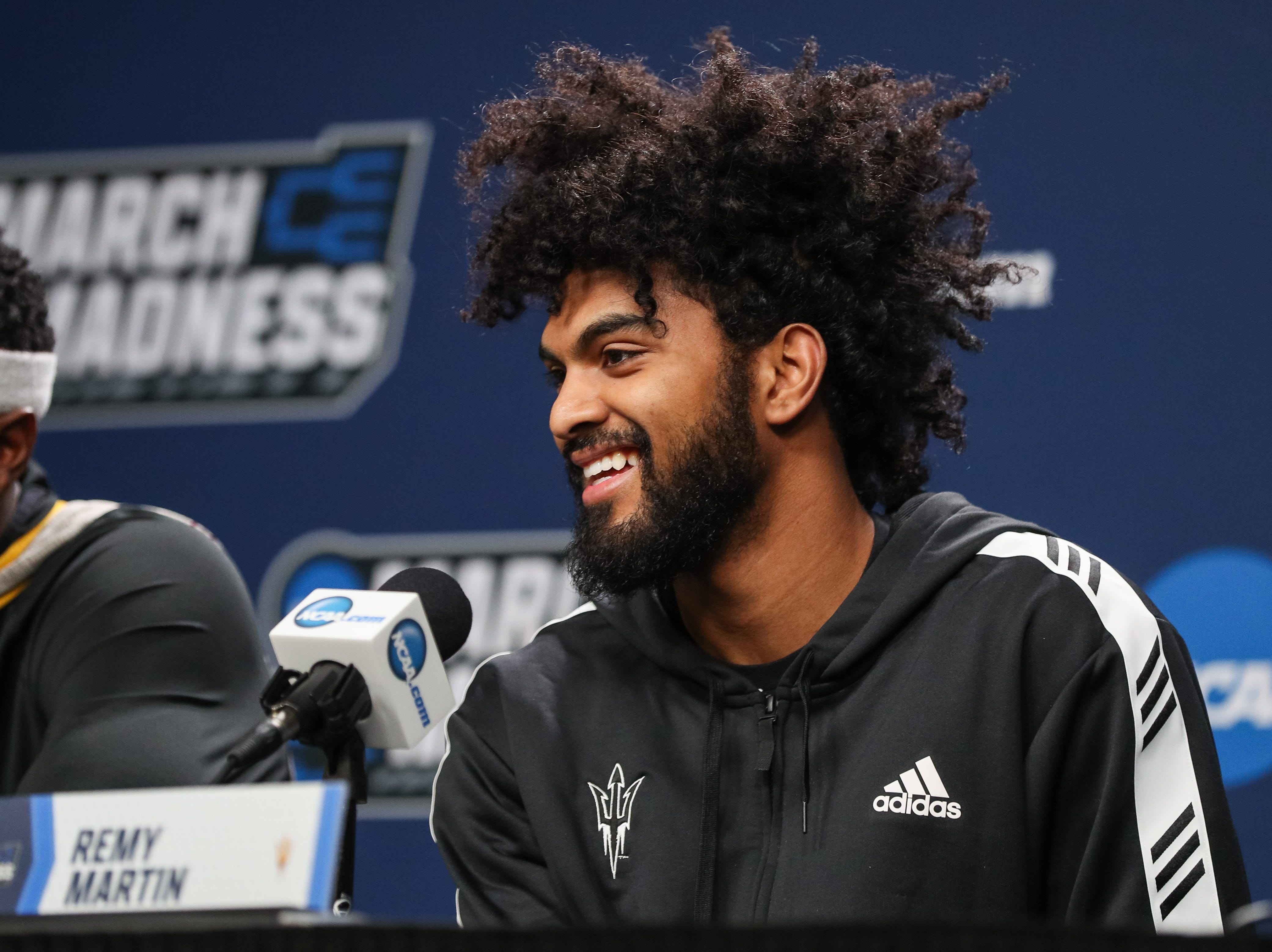 Mar 21, 2019; Tulsa, OK, USA; Arizona State Sun Devils guard Remy Martin answers questions during a press conference before the first round of the 2019 NCAA Tournament at  BOK Center. Mandatory Credit: Brett Rojo-USA TODAY Sports