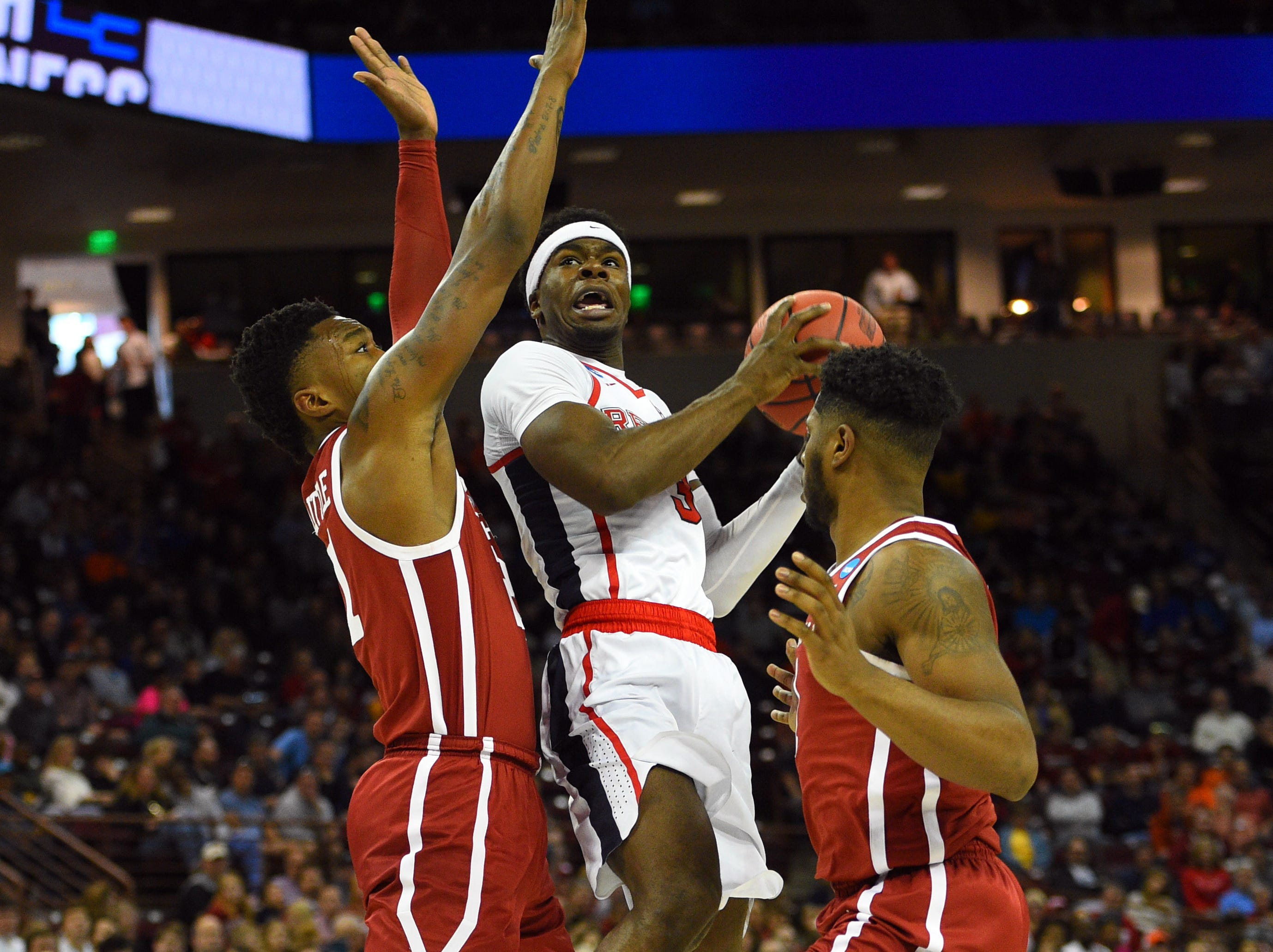 Mar 22, 2019; Columbia, SC, USA; Mississippi Rebels guard Terence Davis (3) drives during the basket during the second half against the Oklahoma Sooners in the first round of the 2019 NCAA Tournament at Colonial Life Arena. Mandatory Credit: Bob Donnan-USA TODAY Sports