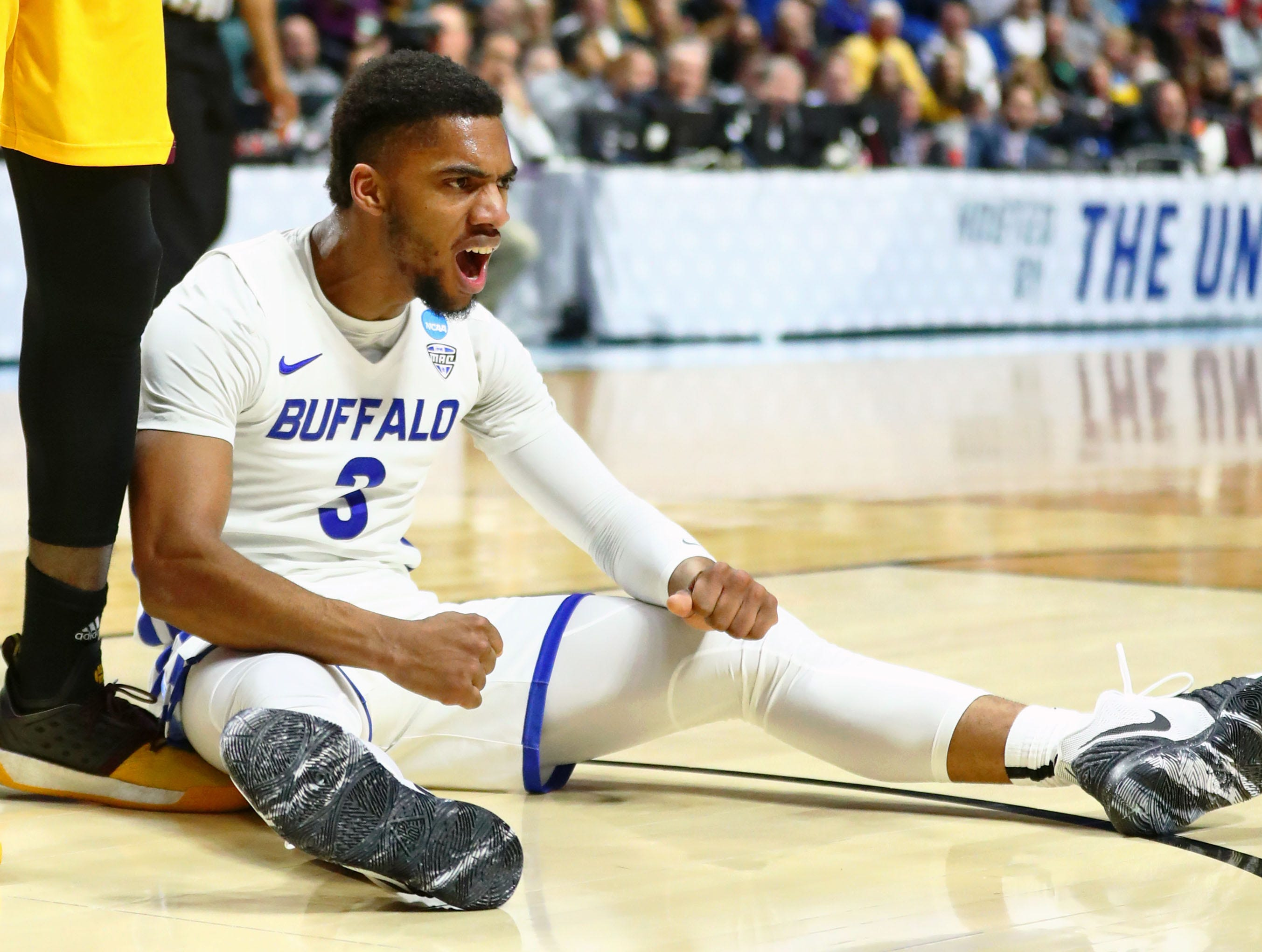 Mar 22, 2019; Tulsa, OK, USA; Buffalo Bulls guard Jayvon Graves (3) reacts after being fouled during the second half of their game against the Arizona State Sun Devils in the first round of the 2019 NCAA Tournament at BOK Center. Mandatory Credit: Mark J. Rebilas-USA TODAY Sports