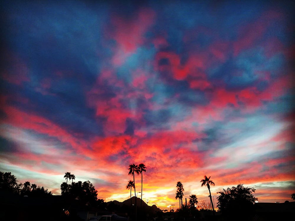 Colorful sunset from the East Valley.