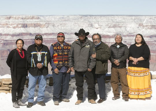 U.S. Rep. Raúl Grijalva (third from the right) stands with Arizona tribal leaders at the Grand Canyon on Feb. 23, 2019.