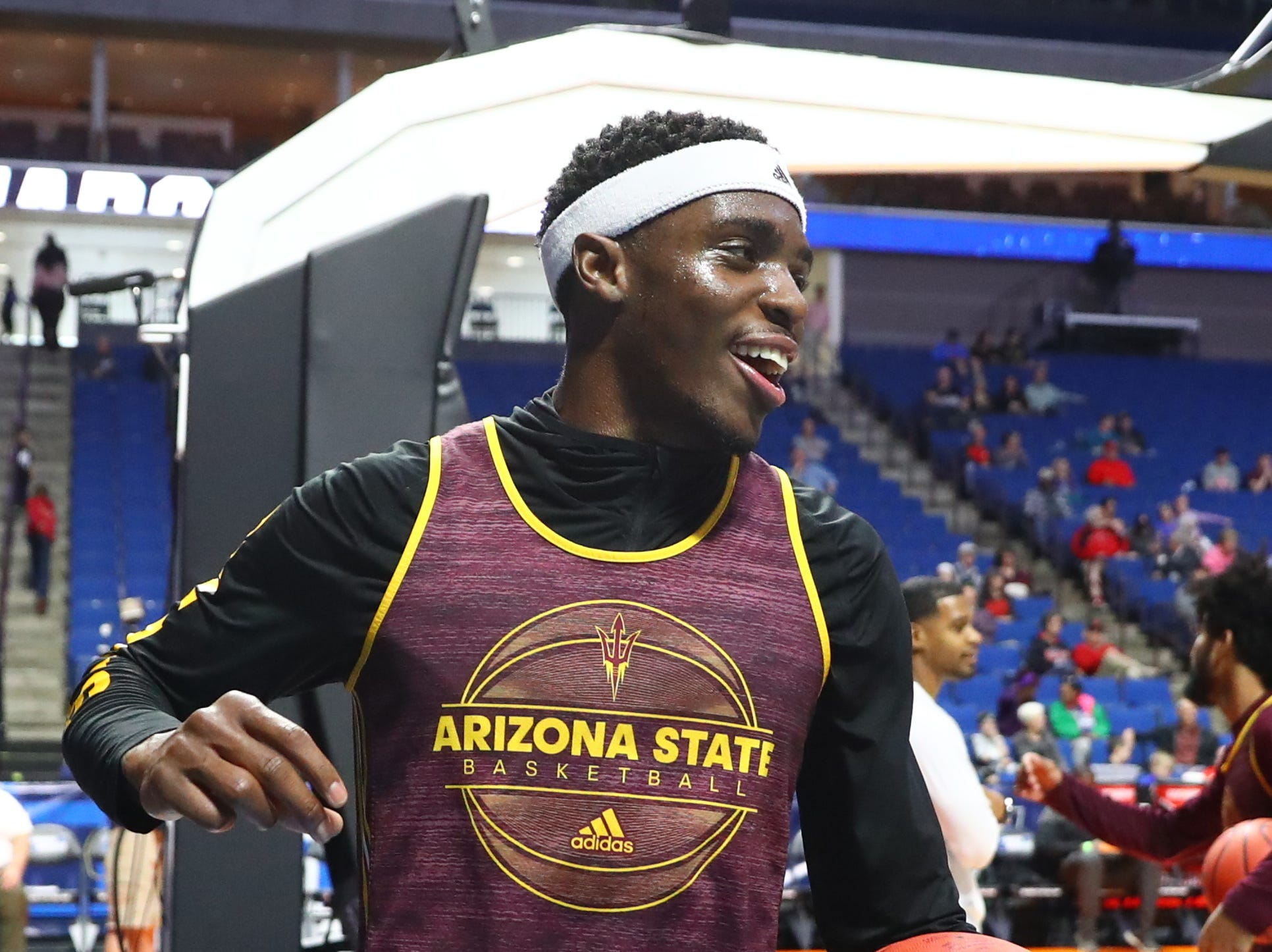 Mar 21, 2019; Tulsa, OK, USA; Arizona State Sun Devils forward Zylan Cheatham during practice before the first round of the 2019 NCAA Tournament at BOK Center. Mandatory Credit: Mark J. Rebilas-USA TODAY Sports