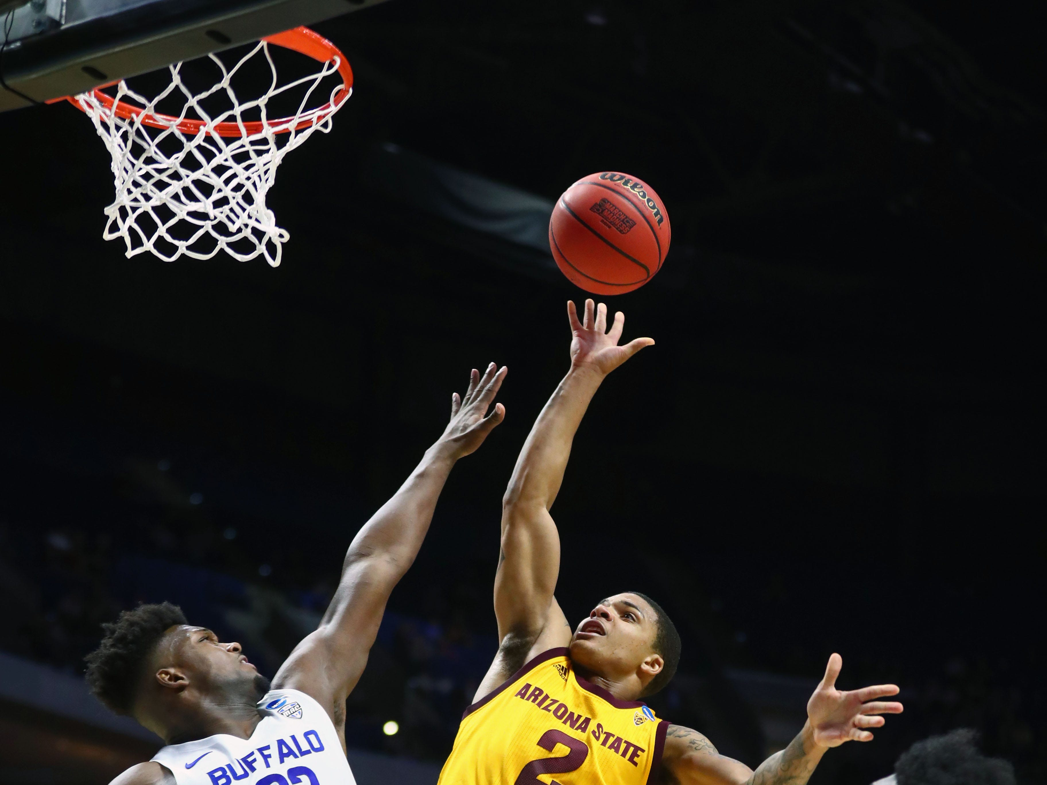 Mar 22, 2019; Tulsa, OK, USA; Arizona State Sun Devils guard Rob Edwards (2) shoots in front of Buffalo Bulls forward Nick Perkins (33) during the first half in the first round of the 2019 NCAA Tournament at BOK Center. Mandatory Credit: Mark J. Rebilas-USA TODAY Sports