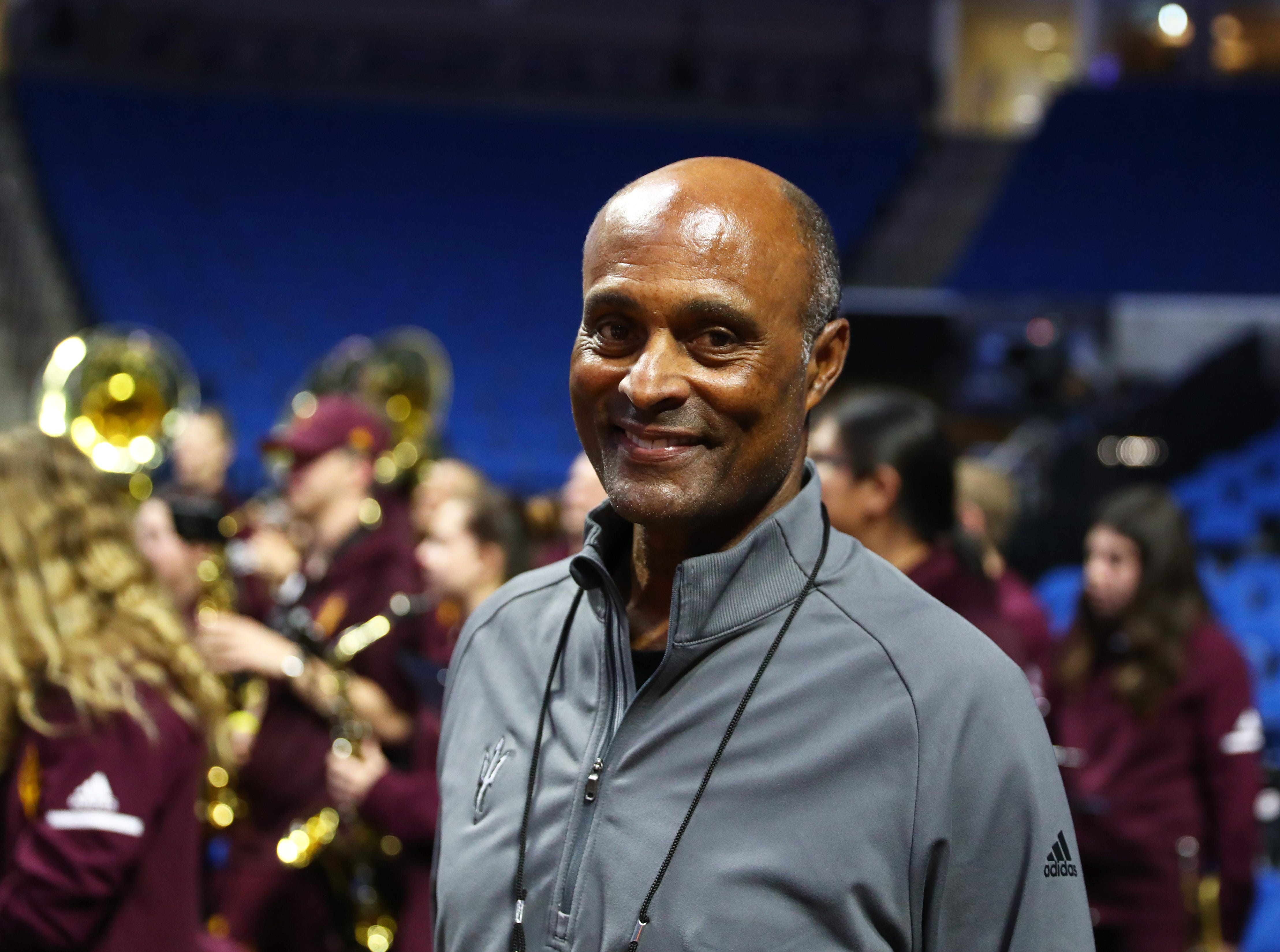 Mar 21, 2019; Tulsa, OK, USA; Arizona State Sun Devils athletic director Ray Anderson during practice before the first round of the 2019 NCAA Tournament at BOK Center. Mandatory Credit: Mark J. Rebilas-USA TODAY Sports