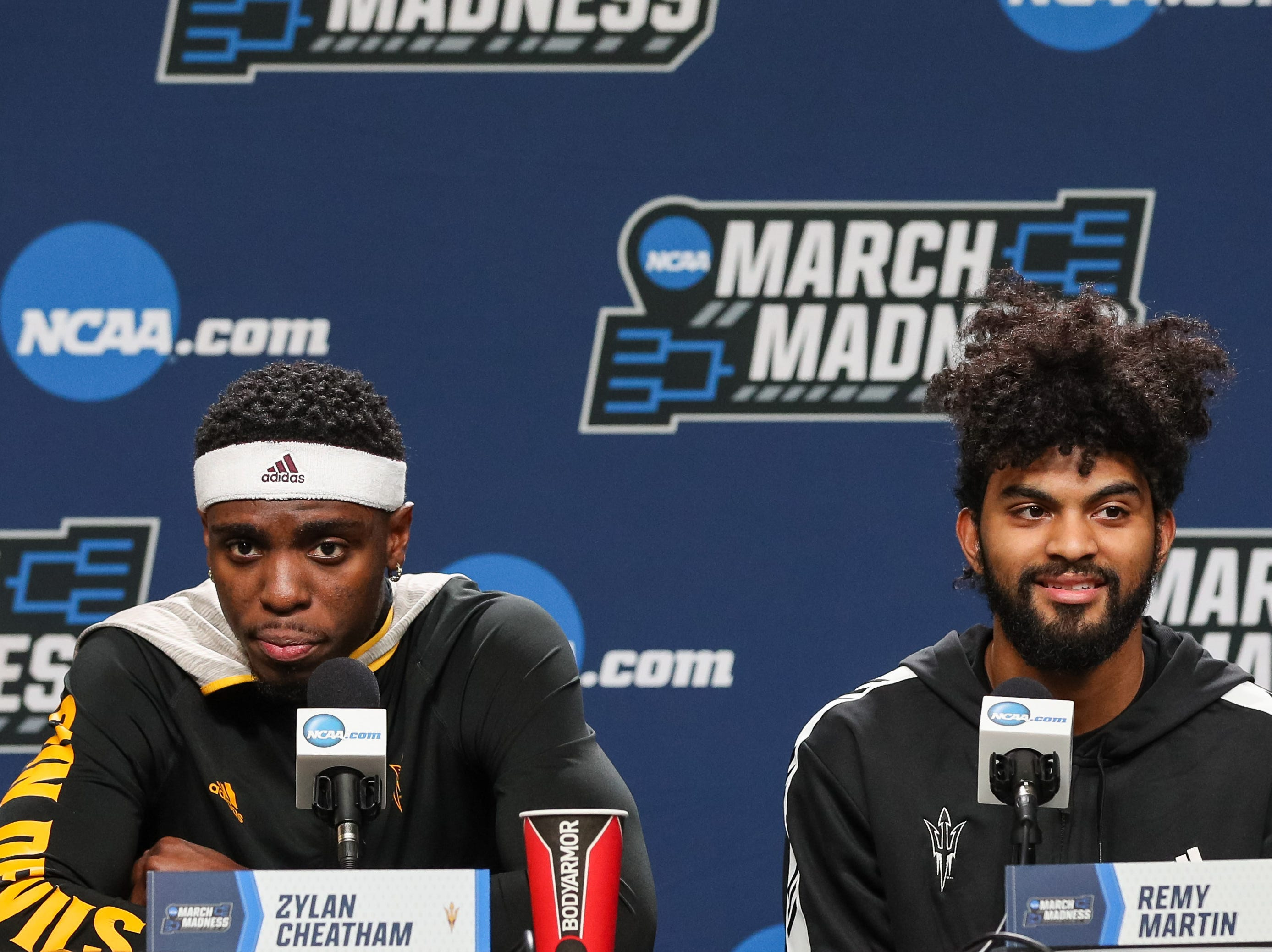 Mar 21, 2019; Tulsa, OK, USA; Arizona State Sun Devils forward Zylan Cheatham (left) and guard Remy Martin answers questions during a press conference before the first round of the 2019 NCAA Tournament at  BOK Center. Mandatory Credit: Brett Rojo-USA TODAY Sports