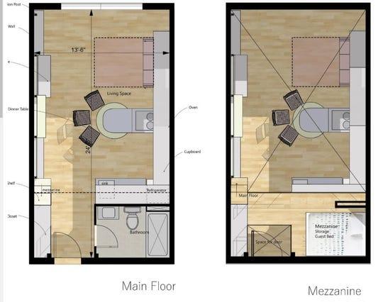 Floor plan for workforce housing units.