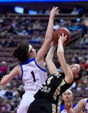 Delone Catholic vs Dunmore in PIAA Class 3-A girls' basketball championship, Thursday, March 21, 2019. 