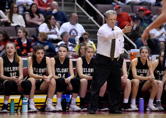 Delone Catholic head coach Gerry Eckenrode instructs his team during the PIAA Class 3-A state title game vs. Dunmore.